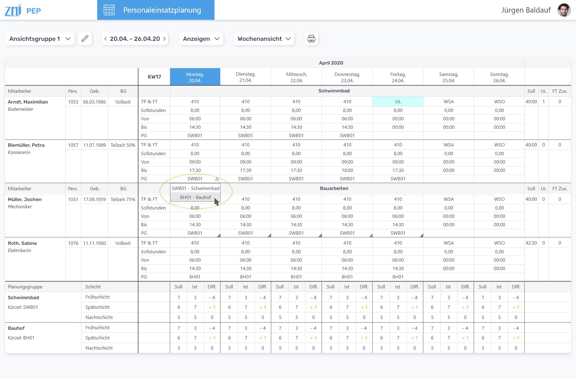 ZMI Personaleinsatzplanung Screenshot
