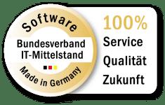100% Service, Qualität, Zukunft Siegel - Software Made in Germany, von Bundesverband IT-Mittelstand